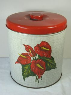 Retro Red Anthurium Canister Cookie Jar by LavenderGardenCottag
