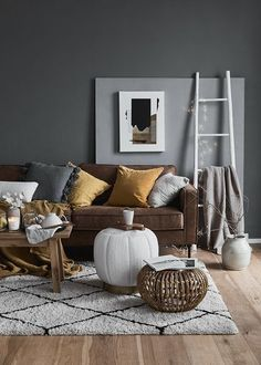 Living Room In Gray Westwing Living Room Decor And Living Ideas For More Coziness . Estilo Industrial Chic, Starter Home, Dark Walls, Of Wallpaper, Interior Design Inspiration, Living Room Decor, House Design, Pillows, Furniture