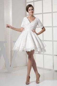 Princess Taffeta V-Neck Short/Mini Length V-back Short Sleeve Lace Ruching Casual Wedding Dress