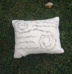 Handmade Felt Pillow White Felt Pillow Felt by LinaArtStudio