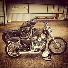 """Harley-Davidson Sportster """"72"""" with an 883 """"Iron"""" in the background"""
