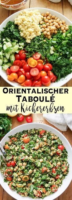 Kichererbsen Taboulé mit frischen Kräutern You can look forward to a fantastic Oriental Kicherebsen Tabbouleh full of fresh herbs. This recipe is also a good example of a rich and yet light dish full Herb Recipes, Veggie Recipes, Salad Recipes, Vegetarian Recipes, Healthy Recipes, Ovo Vegetarian, Healthy Meals, Dinner Recipes, Bulgur Salad