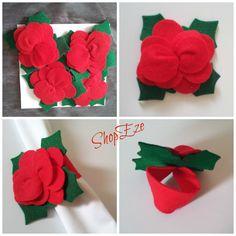 Poinsettia napkin holder - set of 4