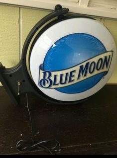"Blue Moon Rotating Pub Light Bar Sign Double Sided 18"" Diameter Rare HTF"