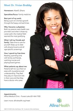 Meet Dr. Vivian Brobby. She is a family medicine doctor who sees patients at Allina Health Forest Lake Clinic.