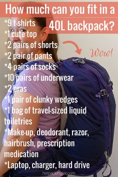How much can you fit in a 40l backpack?