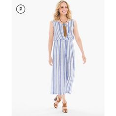Chico's Petite Gaucho Two-Piece Striped Jumpsuit ($189) ❤ liked on Polyvore featuring jumpsuits, petite, white jumpsuit, chicos jumpsuit, 2 piece jumpsuit, petite jumpsuit and striped jumpsuit