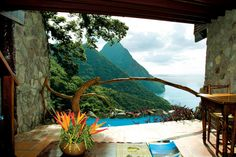 Ladera resort in St. Lucia, West Indies, is so private that it has literally removed the fourth wall from the suites — each is open to the ocean breeze and the sound of the surf and the birds.