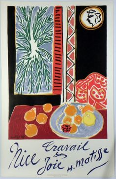 Original Künstler Plakat Matisse Original Artist Poster Matisse Affiche original Henri Matisse  title Nice Travail et Joie  technology Color lithograph