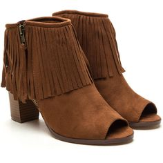Boho A Go Faux Suede Fringe Booties ❤ liked on Polyvore featuring shoes, boots, ankle booties, faux suede boots, boho chic boots, bohemian boots, faux suede ankle booties and fringe booties