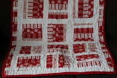 Red and White Quilt by silverfoxcub on Etsy, £70.00