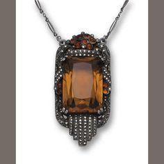 A smoky quartz, citrine and marcasite pendant necklace, Theodor Fahrner, circa 1930