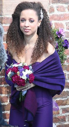 Not a wise choice: Coronation Street character Kirsty Soames arrived at the church for her wedding to Tyrone in a hideous purple dress