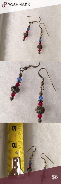 ❤️SALE❤️ Red and blue beaded earrings Cute beaded earrings that look super cute with white Jewelry Earrings