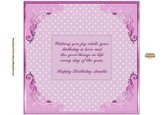 Happy Birthday Auntie Pink Insert on Craftsuprint designed by Sandra Carlse - This is a lovely collection of 'Pretty in Pink' Inserts. I have included birthday inserts for Mum, Nan, Grandma etc. There are also 'age' inserts as well. Thank you for showing an interest in my design. Please click on my name above to view more of my designs which include 3d Wedding Stepper Card Kits, 3d Birthday Easel Card Kits, Decoupage Cardmaking Sheets