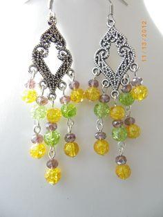 Yellow purple green glass beads silver fashion handmade earrings, free shipping $12.99