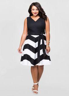Linen Chevron Skater Dress - Ashley Stewart