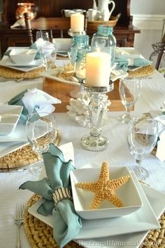 Beach-inspired tablescape with Better Homes and Gardens new porcelain dishes (+ entertaining tips for hosting a stress-free meal) - The Frugal Homemaker
