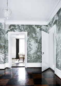 Eden European Panoramic design Hand painted wallpaper with Grisaille color… Painted Paneling, Home, Hand Painted Walls, Wallpaper Panels, De Gournay Wallpaper, Wall Wallpaper, Scenic Wallpaper, Grisaille, Hand Painted Wallpaper