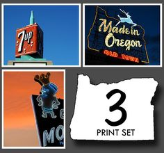 Portland Oregon Neon Signs Set I - Three 11x14 Photographs Featuring Vintage Neon Signs (Portland, Oregon) - SPECIAL PRICE. Neon Sign Decor by VintageRoadside on Etsy https://www.etsy.com/listing/61444758/portland-oregon-neon-signs-set-i-three