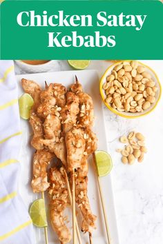 Chicken Satay with Peanut Sauce features flavorful grilled chicken skewers marinated in a peanut sauce with peanut butter, lime juice, soy sauce and more.