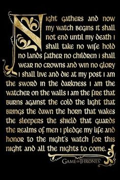 The Night's Watch Oath Poster Game Of Thrones