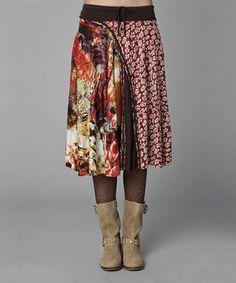 Love this Burgundy & Brown Mehi Skirt by Mahal Moda on #zulily! #zulilyfinds
