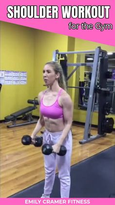This shoulder workout for the gym will help you sculpt beautiful tank top worthy delts to be proud of using free weights, the smith machine, and a barbell. Click through for step by step exercise instructions. Barbell Workout For Women, Weights Workout For Women, Gym Workouts Women, Women Lifting Weights, Weight Lifting For Women, Weight Lifting Plan, Free Weight Workout, Weight Lifting Workouts, Weight Machine Workout