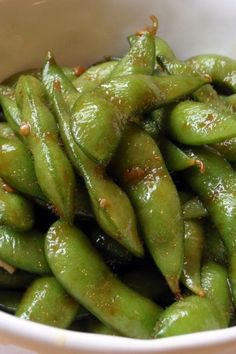 Garlic Teriyaki Edamame. Made this tonight and it was gone in less than 10 minutes. Didn't use the sesame seeds because I forgot but still delicious