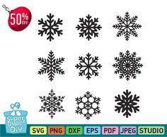 Snowflake svg - Snowflakes clipart - snowflake silhouette and cricut cut files - snowflake digital file svg, eps,png, DXF  - Vinyl Clipart by SuperDuperDIY on Etsy