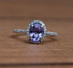 Tanzanite diamond white gold ring by EidelPrecious on Etsy, $800.00