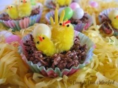Domestic Diva: Just for Easter, Chicks on a Muesli Bar Nest. Too cute!