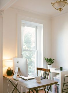 home office - I would work and write here. By an open window, with a simple desk and chair, with a lovely plant.
