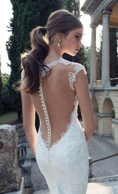 Ponytail Looks for Your Wedding A low ponytail with a backless wedding dress with pearls for a modern bride.A low ponytail with a backless wedding dress with pearls for a modern bride. Berta Bridal, Bridal Gowns, Bridal Lace, Mod Wedding, Wedding Bells, Lace Wedding, Mermaid Wedding, Wedding Ideas, Elegant Wedding