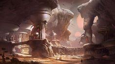 Halo 5 Guardians : Concept Art by HaloMika on DeviantArt Halo 5, Fantasy Landscape, Fantasy Art, Landscape Artwork, Desert Landscape, Picture Collage Maker, Art Science Fiction, Art Environnemental, 2d Art