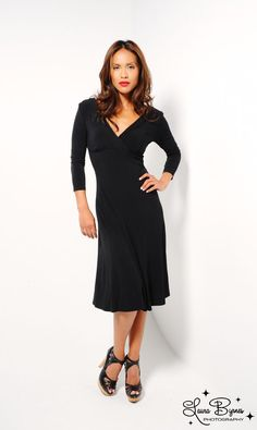 Rainfall Dress in Black Crepe from Lily