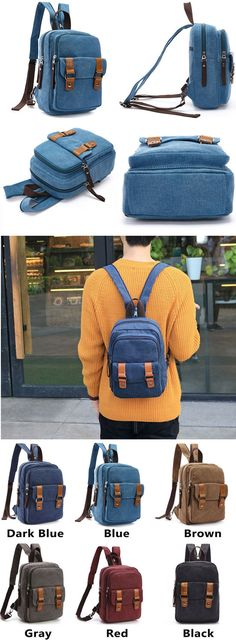 Which color do you like? Retro Splicing Belts Canvas Multifunction Shoulder Bag Small Dual-purpose School Backpack #school #backpack #bag #college #student #fashion #girl #rucksack