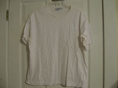 Woman's Knit Top White Sequins Haband XL Short Sleeve #Haband #KnitTop #Casual