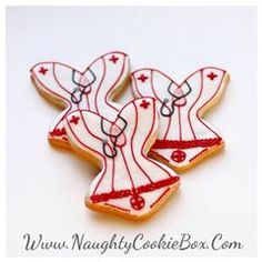 The Naughty Cookie Box | Delicious Treats with a Naughty Twist! Naughty Nurse Corset Cookies. Www.NaughtyCookieBox.Com A Peek-A-Boo Neckline, frilly waste and sultry stethoscope all complete this sultry nurse corset cookie.
