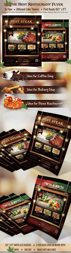This is the Best Restaurant Flyer design for use by ANY food business such as Coffee Shop, Pizza Restaurant, Bakery, Cafe, Club and much more. Advertising Your Restaurant, Food Promotion. PSD file here: http://graphicriver.net/item/restaurant-flyer/8766176?WT.ac=portfolio&WT.z_author=triplenine