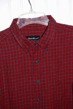 Eddie Bauer Men's XXL Tall Flannel Long Sleeve Plaid Shirt Red Gray Cotton #EddieBauer #ButtonFront
