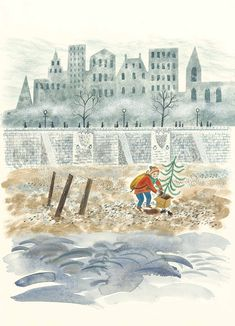 'A Small Pebbly Beach was Showing' by Emily Sutton from the book 'The Christmas Eve Tree' by Delia Huddy Winter Drawings, Cool Drawings, People Illustration, Children's Book Illustration, Childrens Christmas Books, Museum Of Childhood, Christmas Graphics, Bird Sculpture, Sketchbook Inspiration