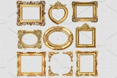 Ad: 9 Golden frames transparent PNG by LiliGraphie on Golden frames isolated on transparent background. Vintage background for your photo, picture, image 1 PNG Business Illustration, Pencil Illustration, Creative Illustration, Background Vintage, Paper Background, Baroque, Old Letters, Object Drawing, Scrapbook