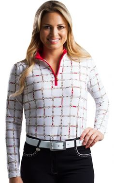 If you're in the market for some new outfits, consider our women's apparel! Shop this comfortable and stylish On The Bit Red SanSoleil Ladies & Plus Size SolTek Ice Print Zip Mock Long Sleeve Golf Shirts from Lori's Golf Shoppe.