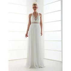 Sheath/Column Halter Floor-length Satin Chiffon Wedding Dress  – GBP £ 125.27