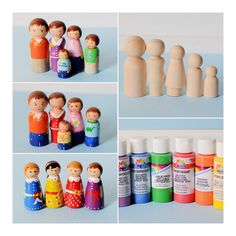 DIY little wooden dolls...these would be cute to make for the little ones to use in Fisher Price house, farm, or bus