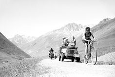 Cyclist Fausto Coppi arrives at the Col du Galibier during the 11th stage of the 1952 Tour. Mr. Coppi won the stage and the Tour de France for the second time.