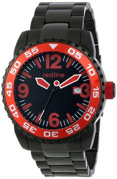 red line Men's RL-60023 Ignition Analog Display Japanese Automatic Black Watch. Precise 24 jewels Japanese automatic movement. Mineral crystal; black ion-plated stainless steel case and bracelet. Date window at 3:00. Black dial with black, red and white hands and red hour markers and Arabic numerals; unidirectional black ion-plated stainless steel bezel with red top ring; black ion-plated stainless steel crown with red accent; exhibition case back. Water resistant to 330 feet (100 M):...