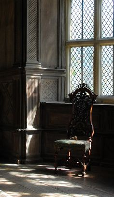 A place to sit and ponder the centuries.  https://flic.kr/p/9yuwo6 | Carved chair | Haddon Hall