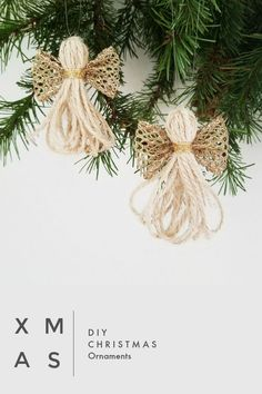 cute DIY christmas ornaments for the christmas tree or as decoration or even as a gift. made with twine and ribbon, totally gorgeous. great tutorial